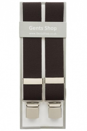Plain Chocolate Brown Elastic Trouser Braces With Large Clips